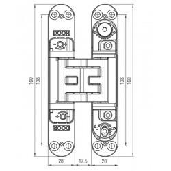KZ - Skrytý záves Kubica - K5080 CP - Chróm perla