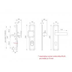 Spevnené kovanie MI - QB SECUR / SUN 1 PLUS OC/OC/OCS - Chróm lesklý / chróm lesklý / chróm brúsený