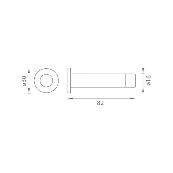 AXA - Zarážka dverí na stenu - FS16 BN - Brúsená nerez