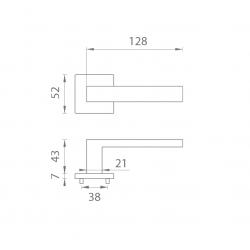 Kľučka na dvere AT - SULLA - HR 7S OCS - Chróm brúsený