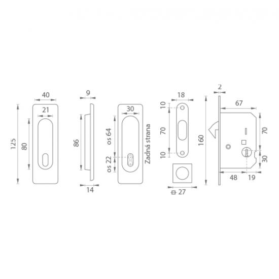 FT - Set na posuvné dvere - BB/D - HR OCS - Chróm brúsený