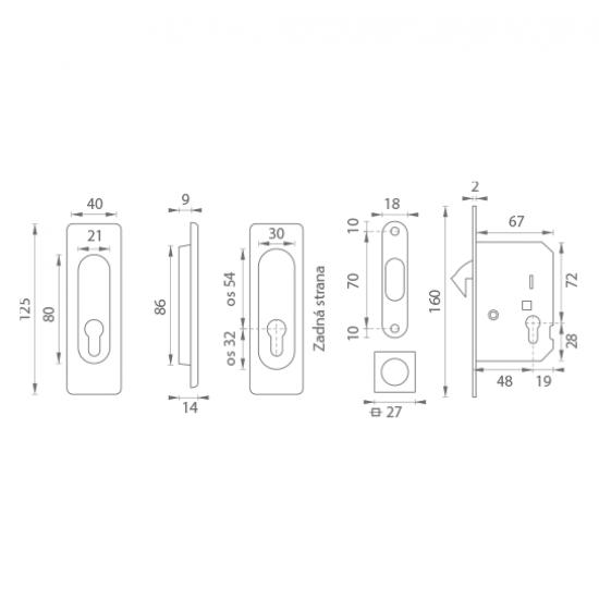 FT - Set na posuvné dvere - PZ/D - HR BS - Čierna matná