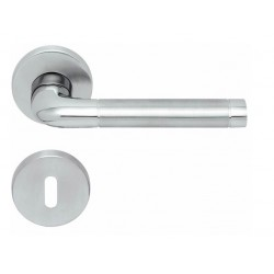 Kľučka na dvere SP - DUO - R PB1101 BN/LN/BN - Brúsená nerez / leštená nerez / brúsená nerez