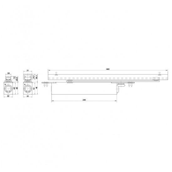 GZ - BOXER 2-4 Integrovaný samozatvárač S - Strieborná