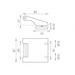 TI - Pánt na sklo vertikálny 3696 BS - Čierna matná