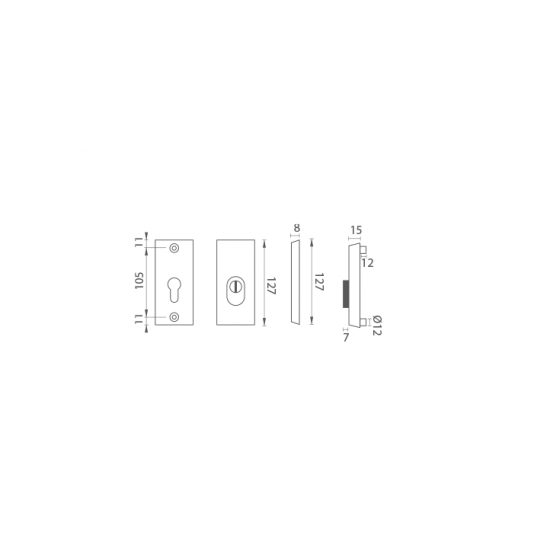 AXA - ROZETA OMEGA2 PLUS F8 - Čierny elox