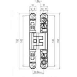 KZ - Skrytý záves Kubica - K2460 BS - Čierna matná