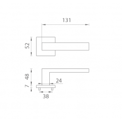 Kľučka na dvere AT - HOSTA - HR 7S OC - Chróm lesklý