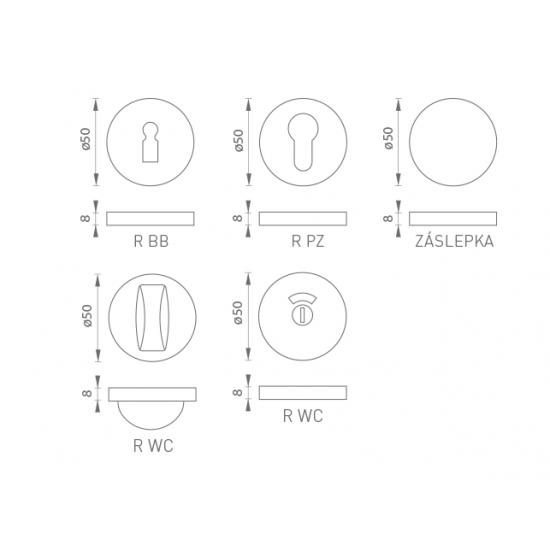 GI - rozeta F1 - Strieborný elox