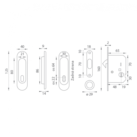 FT - Set na posuvné dvere - BB/D - R OCS - Chróm brúsený