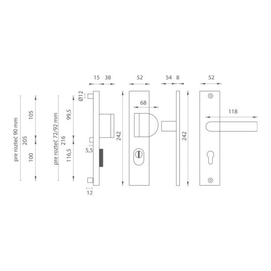 Bezpečnostné kovanie AXA - ATLAS2 PLUS B - Biely komaxit