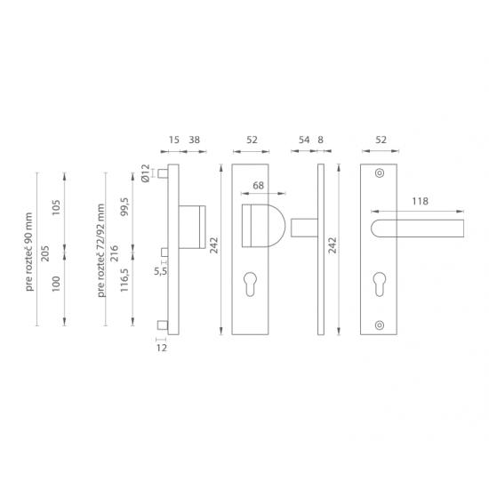 Bezpečnostné kovanie AXA - ATLAS2 B - Biely komaxit