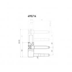 OV - Pánt nastaviteľný spodný 495/16 BP - Biely pozink