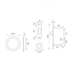 ATZ - Set na posuvné dvere WC 3910 - okrúhly BN - Brúsená nerez