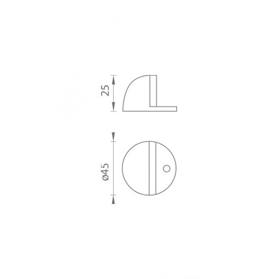 AXA - Zarážka dverí polkopulka - FS45 BN - Brúsená nerez
