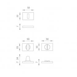 Rozeta pre kľučku AS - ROZETA - RT 7S OCS - Chróm brúsený