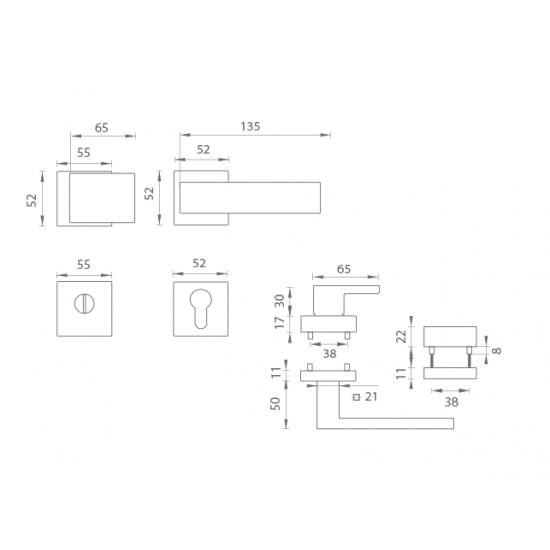Bezpečnostné kovanie TI - CUBO/SQUARE - HR 3230/2275 OCS - Chróm brúsený