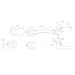 Spevnené kovanie MI - LYON / FIRENZE - R M OLV - Mosadz leštená lesklý lak