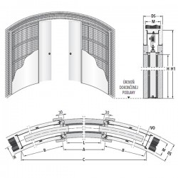 Stavebné puzdro ECLISSE CIRCULAR dvojkrídlové 1200 mm - Murivo
