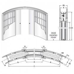 Stavebné puzdro ECLISSE CIRCULAR dvojkrídlové 1200 mm - Sadrokartón