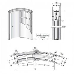 Stavebné puzdro ECLISSE CIRCULAR jednokrídlové 1000 mm - Sadrokartón
