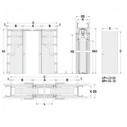 Stavebné puzdro ECLISSE dvojkrídlové 1250 mm - Sadrokartón