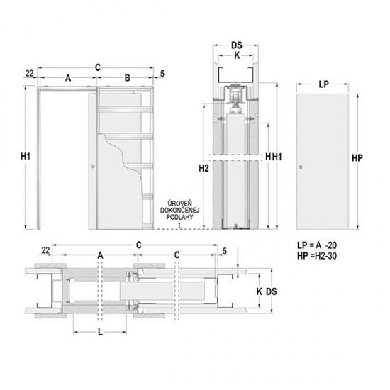 Stavebné puzdro ECLISSE jednokrídlové 1100 mm - Sadrokartón