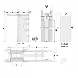 Stavebné puzdro ECLISSE LUCE jednokrídlové 1000 mm - Sadrokartón