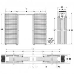 Stavebné puzdro ECLISSE SYNTESIS LINE dvojkrídlové 1230 mm - Murivo