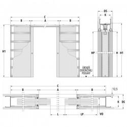 Stavebné puzdro ECLISSE SYNTESIS LINE dvojkrídlové 1230 mm - Sadrokartón