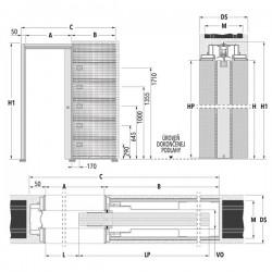 Stavebné puzdro ECLISSE SYNTESIS LINE jednokrídlové 1015 mm - Murivo