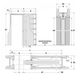 Stavebné puzdro ECLISSE SYNTESIS LINE jednokrídlové 1015 mm - Sadrokartón
