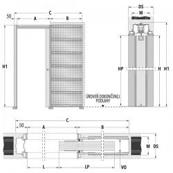 Stavebné puzdro ECLISSE SYNTESIS LUCE dvojkrídlové 1230 mm - Murivo