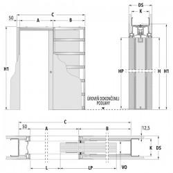 Stavebné puzdro ECLISSE SYNTESIS LUCE dvojkrídlové 1230 mm - Sadrokartón