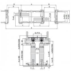 Stavebné puzdro JAP 730 NORMA PARALLEL dvojkrídlové 1250 mm - Murivo
